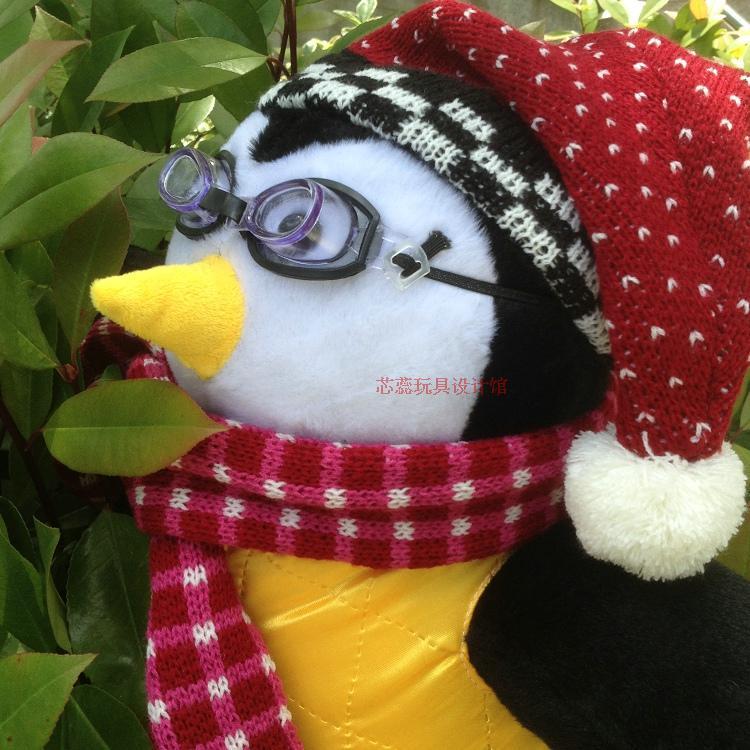 pinguim recheado boneca com cachecol colete óculos
