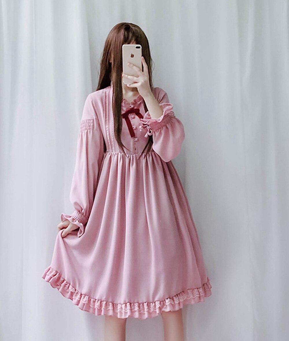 Rosa A Dolce Maniche In Nero Dress colore Il rosso Pizzo Lolita Lunghe Donna P4wHc5Uqq