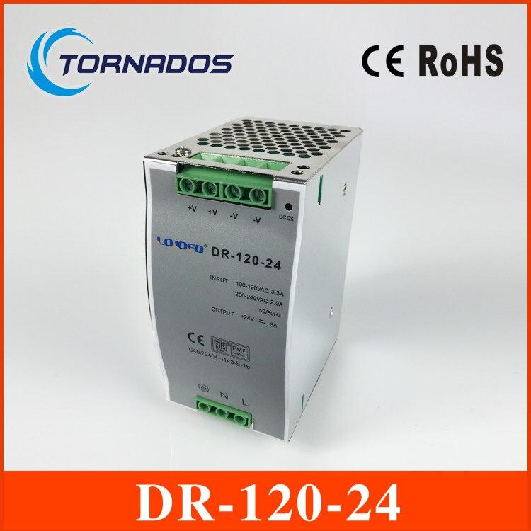 (DR-120-24) CE RoHS deux ans de garantie 120 W 24 v din rail alimentation 85-264VAC entrée