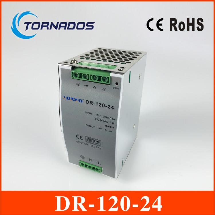 цена на (DR-120-24) CE RoHS two years warranty 120W 24v din rail power supply 85-264VAC input