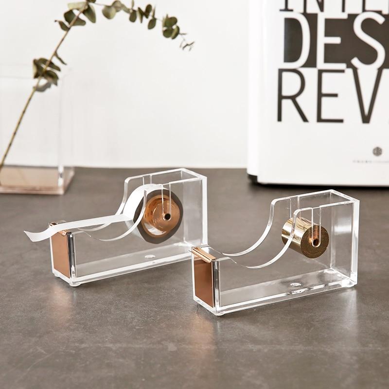 Luxury Rose Gold Tape Dispenser Acrylic Masking Tape Cutter Washi Tape Storage Organizer Adhesive Tape Holder Drop Shipping