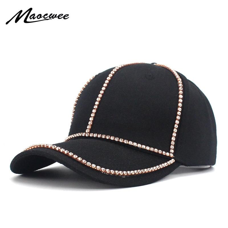 Maershei Vintage Luxury Rhinestones Woman Cowboy Baseball Cap Flower Pattern Gorras Female High Quality Glass Diamond Hat Women's Hats
