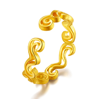 Real 24K Yellow Gold Ring Clouds Women Ring