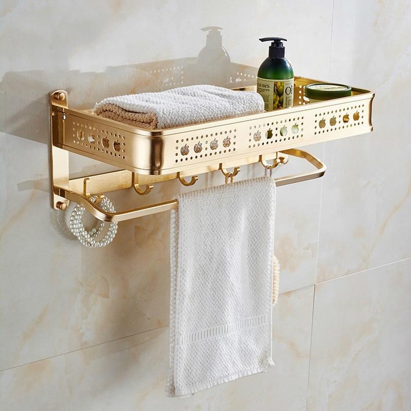 Space aluminum bathroom towel rack single layer gold towel rack custom hardware bathroom gold rack manufacturers lo828232 nike elite shinsen
