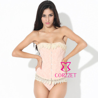 2606 sexy cotton lace metal buckle overbust boned corset + thong new 2013 strapless bustier top women body shaper S XXL