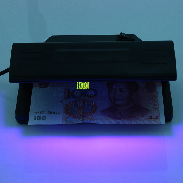 Counterfeit Money Tester Bill Currency Fake Detector with ON/OFF Switch EU Plug  4W UV Light Money Detector Checker Practical