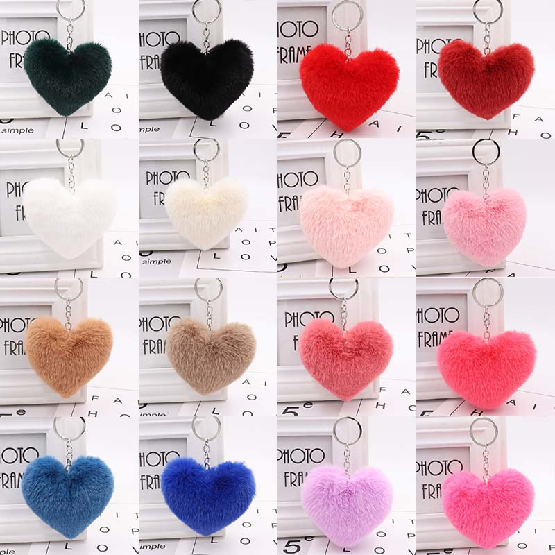 Hot Sale Cute Car Key Ring 10CM Women's 1PC Keychains Fluffy Heart Jewelry Accessories Faux Rabbit Fur For Bag Key Chains