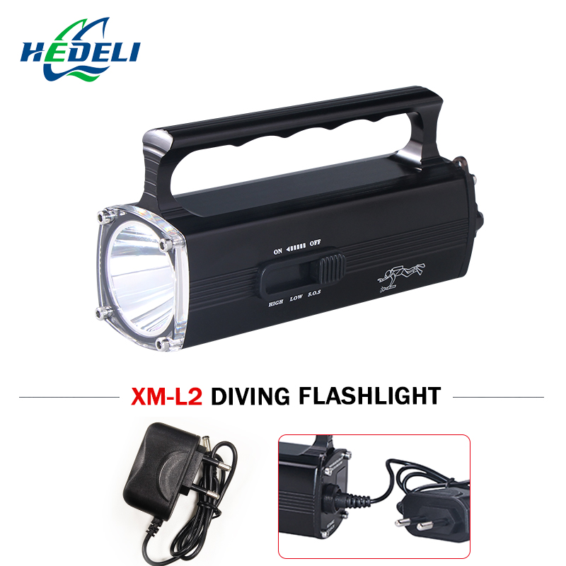 100 M underwater light professional diving flashlight torch rechargeable led flashlights scuba cree xm-l2 5400mAh 100m underwater diving flashlight led scuba flashlights light torch diver xm l2 use 18650 or 26650 rechargeable batteries