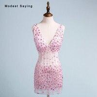 Настоящее сексуальное роскошное вечернее платье прозрачное Коктейльные мини платья со стразами и бусинами 2018 розовое короткое платье на в