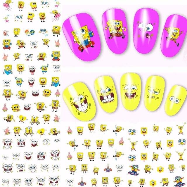 Sheets Spongebob Design Nail Art Water Transfer Decals NAIL - Spongebob nail decals