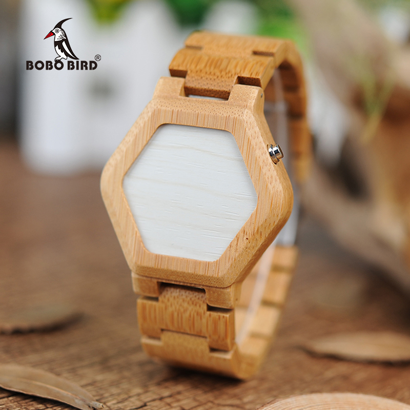 BOBO BIRD V-E03 Casual LED Digital Bamboo Watch Natt Vision LED Watch Cool LED Display Clock med unik LED Date Day
