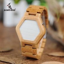 BOBO BIRD V E03 Casual นาฬิกาดิจิตอล LED นาฬิกาไม้ไผ่ Night Vision LED นาฬิกา LED นาฬิกา LED ที่ไม่เหมือนใครวันที่วัน
