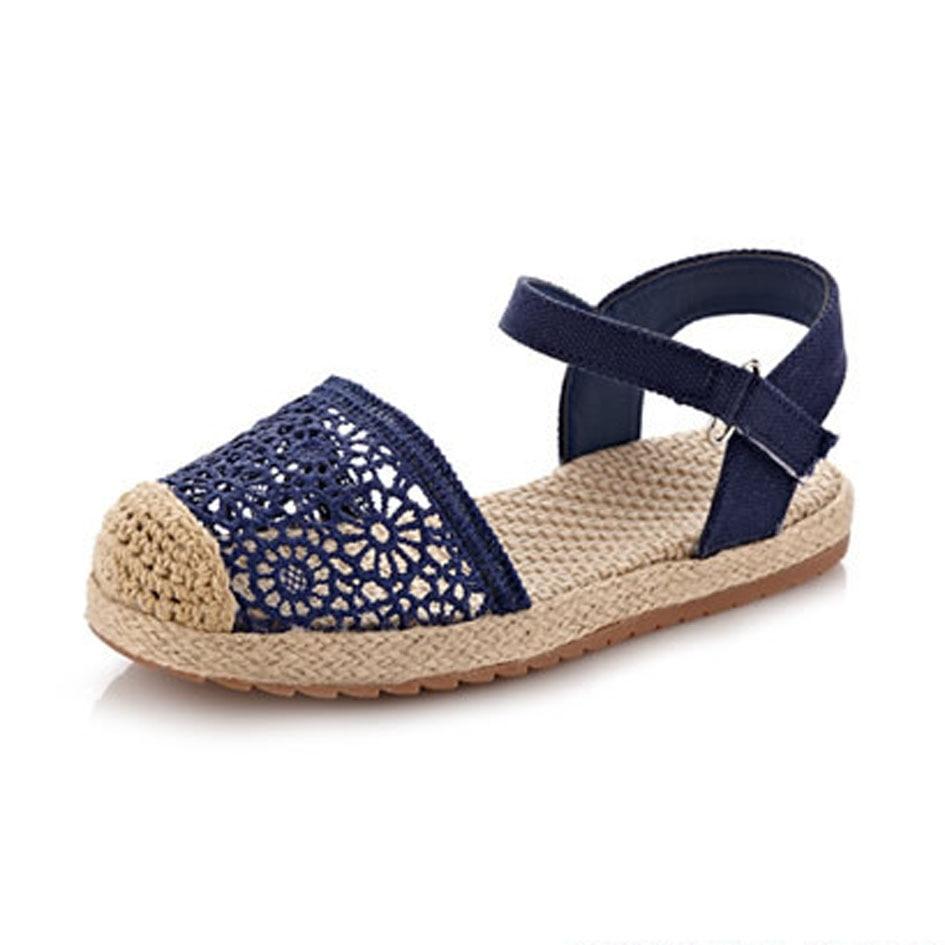 2016 European Brand Design Childen Niñas Sandalias de Encaje de Lujo Niños Alpargatas De Yute Cáñamo