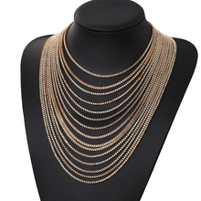 купить Women New Jewelry Fashion Multi-layer Tassel Necklace Jewelry Necklace Geometric Metal Alloy Necklace Long Chain Necklace онлайн