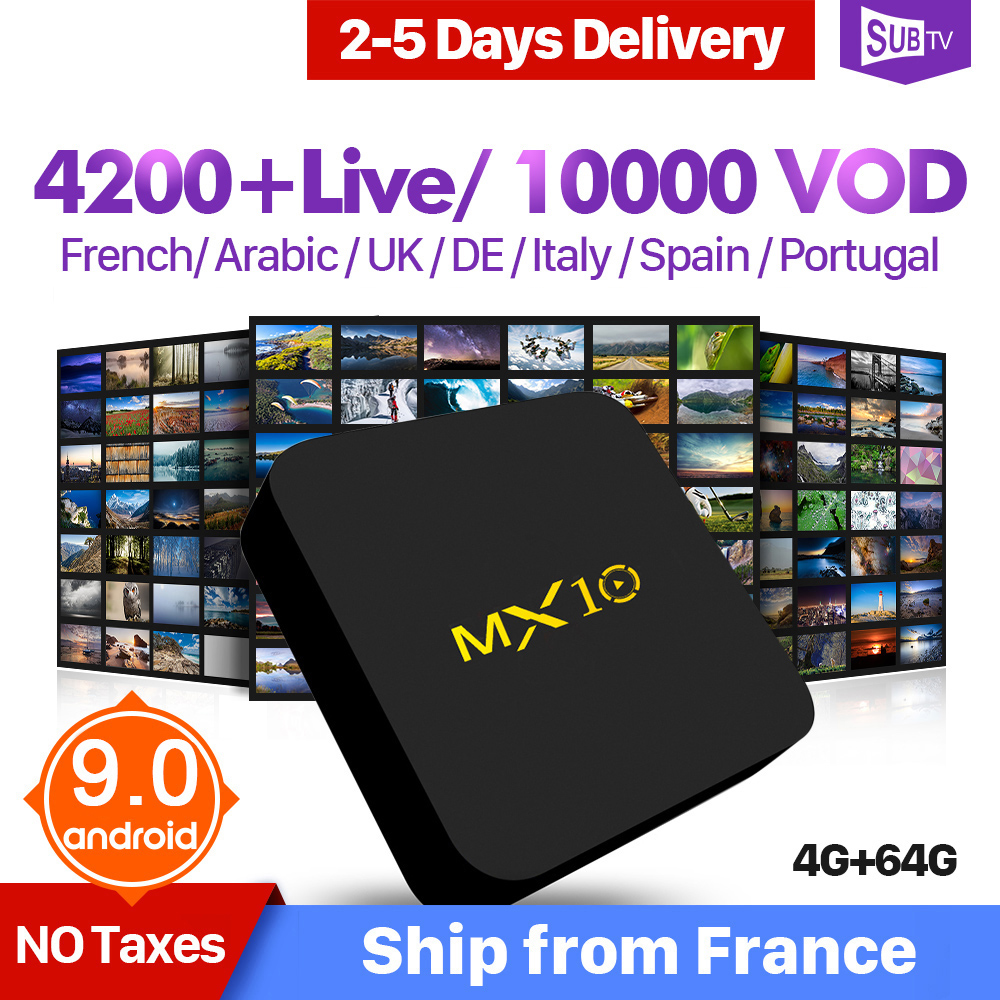 IP TV Italy Arabic Spain France IPTV 1 Year MX10 Android 9 0 4 64G IPTV