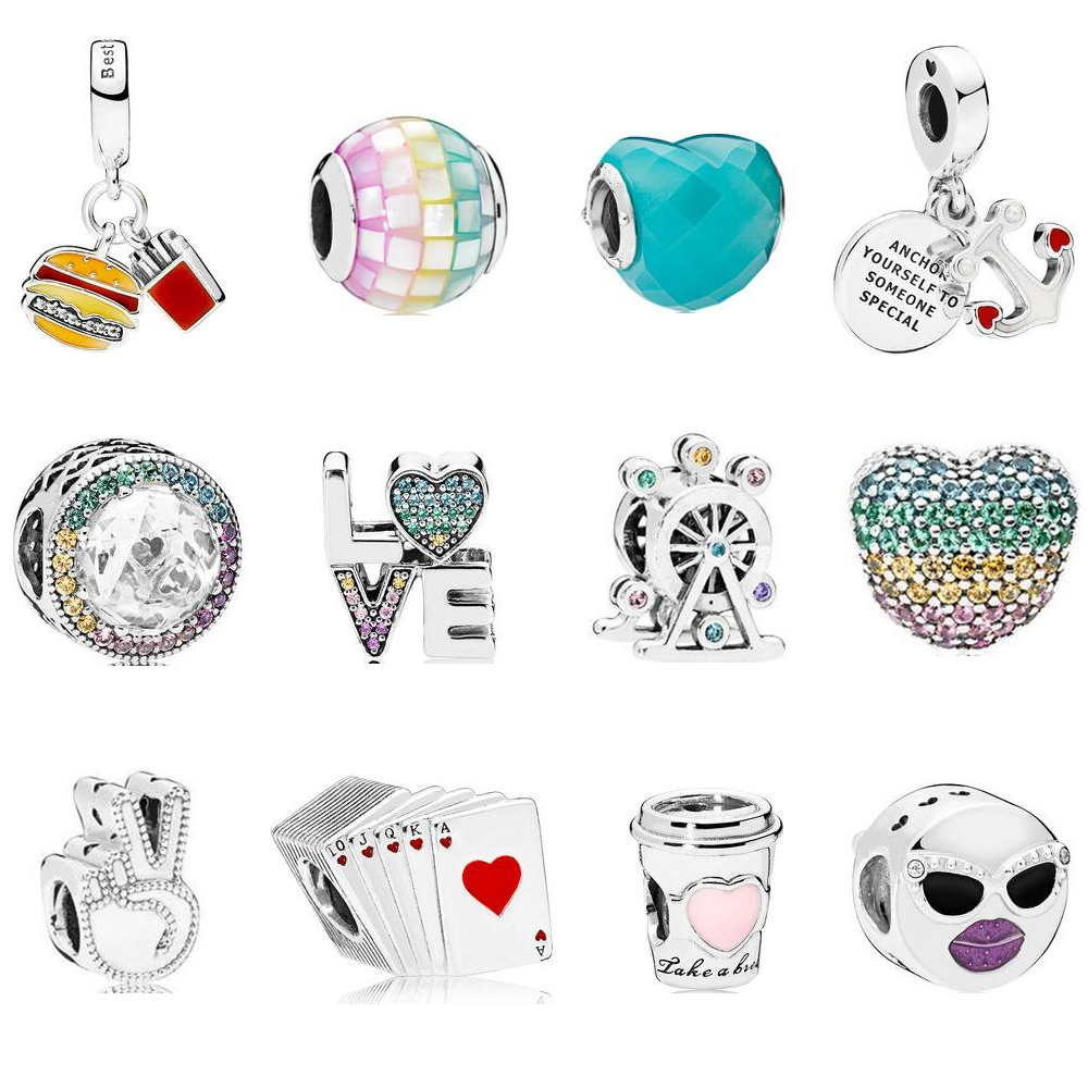 2018 Summer Collection LOVE Charm Fits Pandora Bracelet & Necklace Pure 100% 925 Sterling Silver DIY Beads for Jewelry Making.