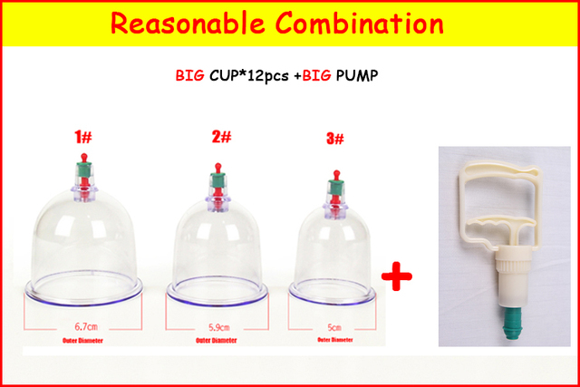 12 original Chinese traditional Vacuum Cupping set Therapy Cups Massage/musilin hijama cups single sell in bulk C suction pump