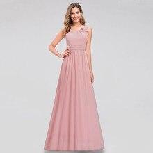 Розовые платья подружки невесты Ever Pretty EB07660PK элегантные шифоновые платья для свадеб с круглым вырезом и открытыми плечами, вечерние платья