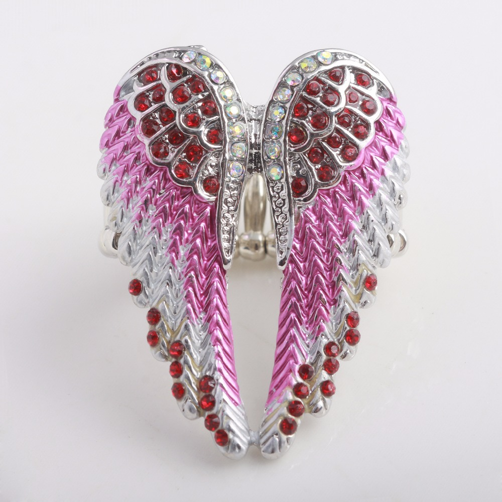 Drop shipping Fashion Angel Wings Elastic can be adjusted Ring Punk Biker colored crystal Enamel Jewelry