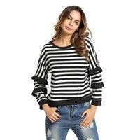 #185345 # Hot Women Autumn Fashion Casual Long Sleeve Striped Lace Bat Sleeve Thickened Warm Jacket Sweatershirts Encapuchado