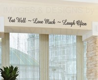 CaCar Wall Decal Quote Sticker Vinyl Lettering Eat Well Love and Laugh Kitchen wall art decor