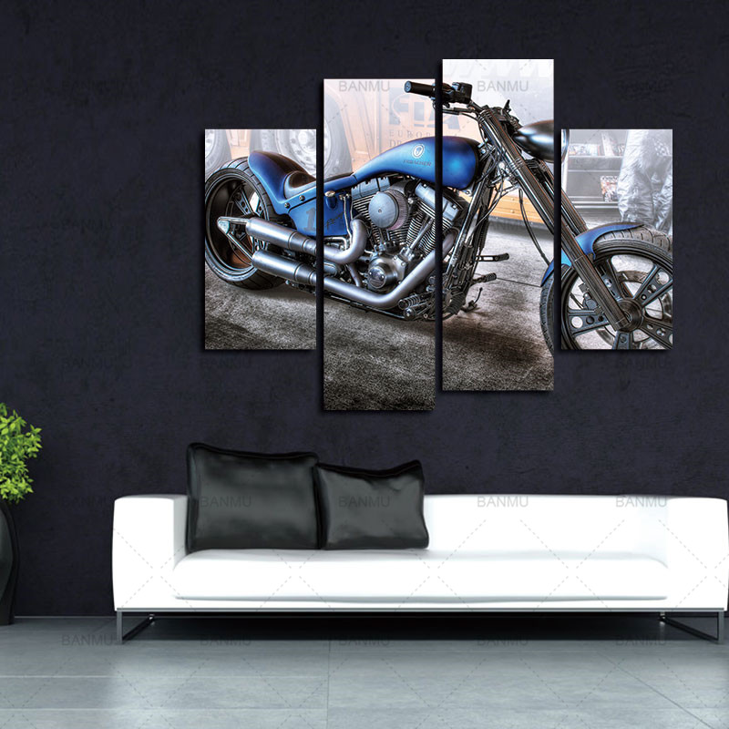 Lærredsmalerier Vægdekoration Kunstværker 4 Paneler Lærred - Indretning af hjemmet - Foto 3