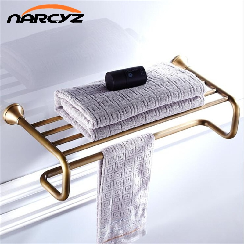 Full of copper European antique high quality retro towel rack towel rack extension wall hanging 9046K square corners hanging antique copper 2 candelabra sockets clear glass
