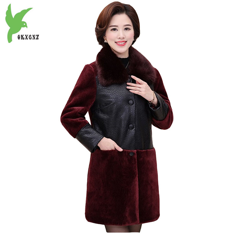 Plus size Middle-aged Women Cotton Jacket Winter Warm Coat PU leather Fur Stitching Parkas Thicker Fur collar Cotton Coat OKXGNZ