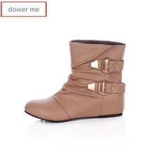 dower me 2017 boots, inner height, women's boots, women's shoes, French Martin boots, quality assurance, large size 34-43,