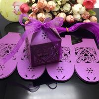 100Pcs/lot Purple Color Heart Laser Cut Gift Candy Favour Boxes With Ribbon for Wedding Party Table Decoration Wholesales
