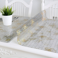 IHAD PVC Tablecloth Waterproof Tablecloth Floral Clear Rectangular Transparent PVC anti-oilproof table mat coffee table cloth