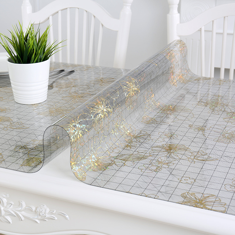 Mantel de PVC IHAD mantel impermeable Floral claro Rectangular transparente PVC anti-oilproof mantel