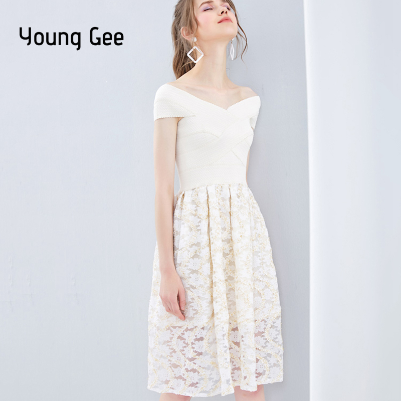 6548062df85a4 Young Gee White Cami Bandage Dress 2019 Summer Spaghetti Strap ...