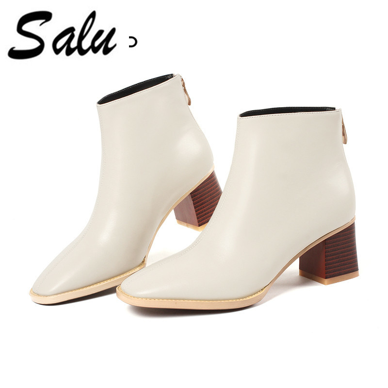 Salu New Full Grain Leather Short Boots square Heel Black Warm Wool Winter Female Leather Boot