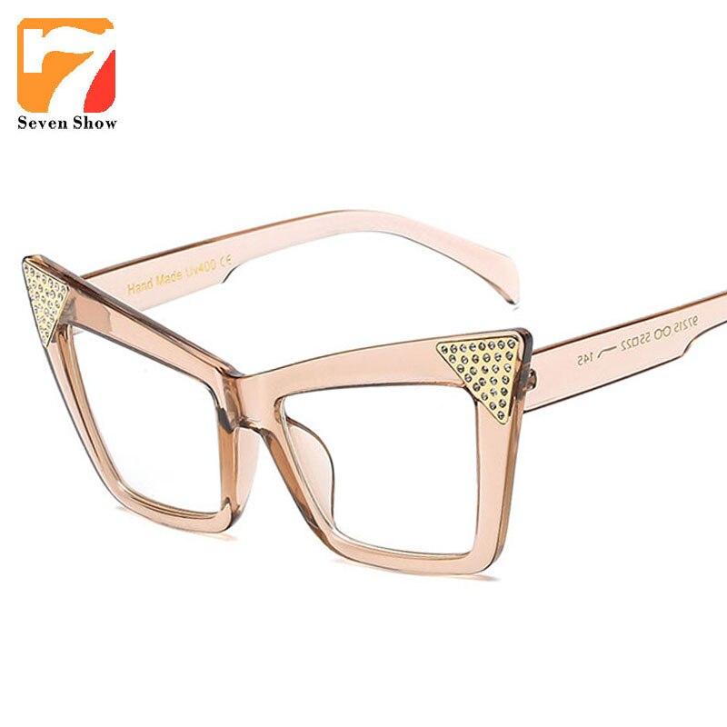 2018 brand large square frame glasses designer fashion cat eye ...