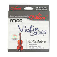 Alice Professional A706 Violin Strings Stranded Steel Core Imported Stainless Steel A Set for Violin Size 4/4 3/4 1/2 1/4 1/8