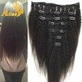 Clipe em Kinky extensões de cabelo malaio virgem não processado Yaki Weave grosso Yaki do cabelo humano Natural clipe Ins