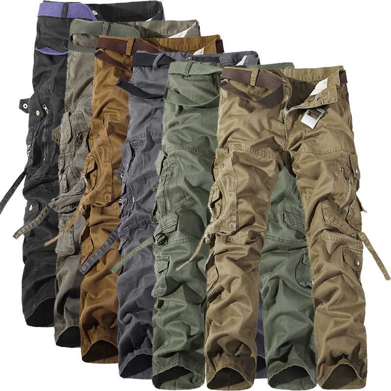 2019 Spring Autumn Army Tactical Pants Multi-pocket Washing Loose Army Green Cargo Pants Men Casual Tooling Pants 28-42