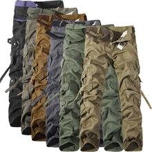MIXCUBIC 2019 ilkbahar sonbahar ordu taktik pantolon çok cep yıkama gevşek ordu yeşil kargo pantolon erkekler rahat takım pantolon 28 42