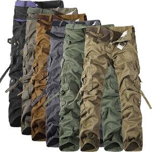 Image 1 - Мужские тактические брюки MIXCUBIC, свободные брюки карго армейского зеленого цвета с множеством карманов, повседневные рабочие брюки, весна осень 2019
