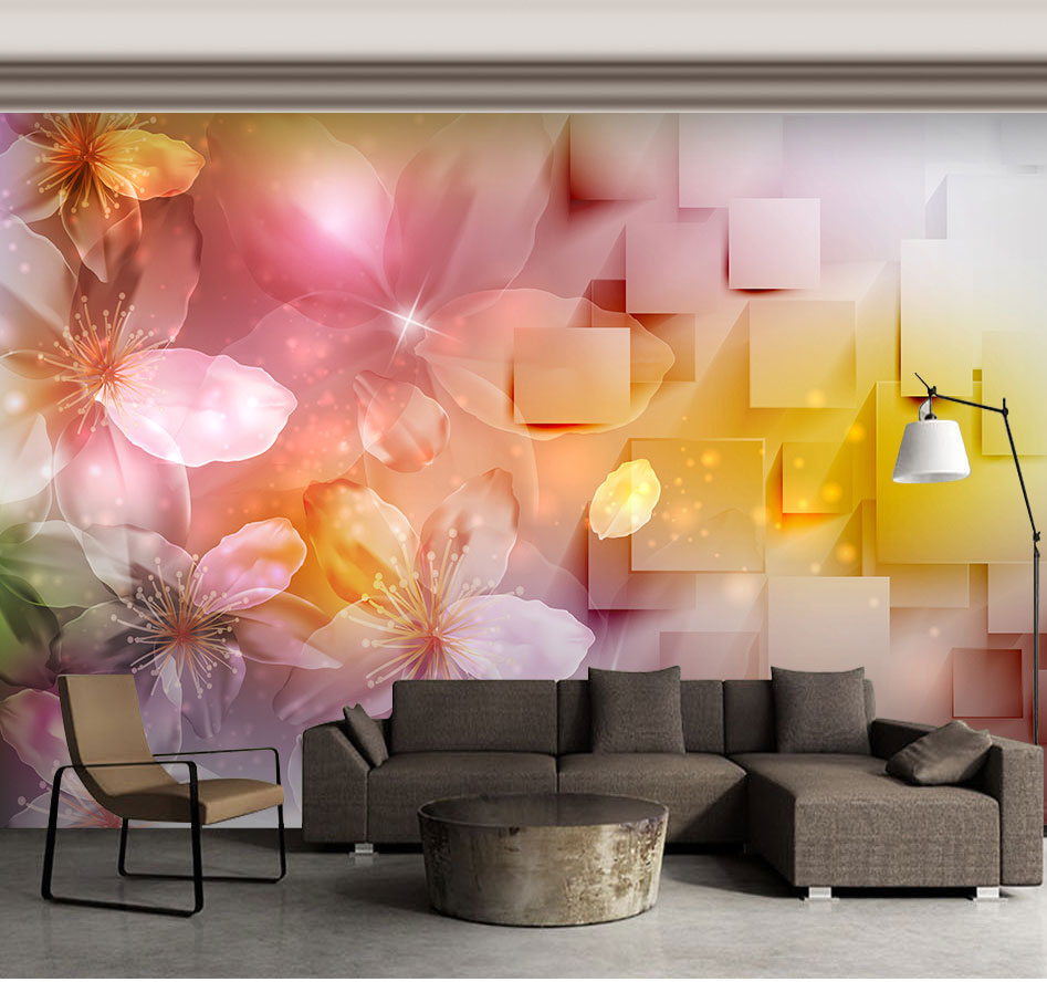 Large Murals 3D Geometry Flower Wallpaper Murals 3d Wall Photo Mural for Living Room 3d Flower Wall paper 3d Wall Mural Decor
