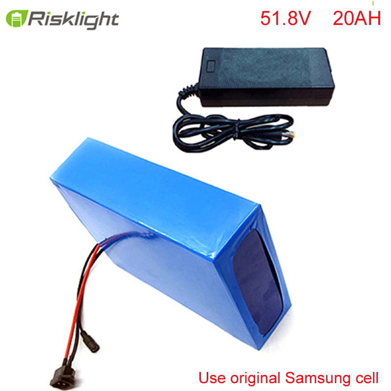 No taxes Super Power 51.8V 1500W   Electirc Scooter Battery 52V 20AH ebike Lithium Battery with Bag and Charger For Samsung cell free customs taxes and shipping balance scooter home solar system lithium rechargable lifepo4 battery pack 12v 100ah with bms