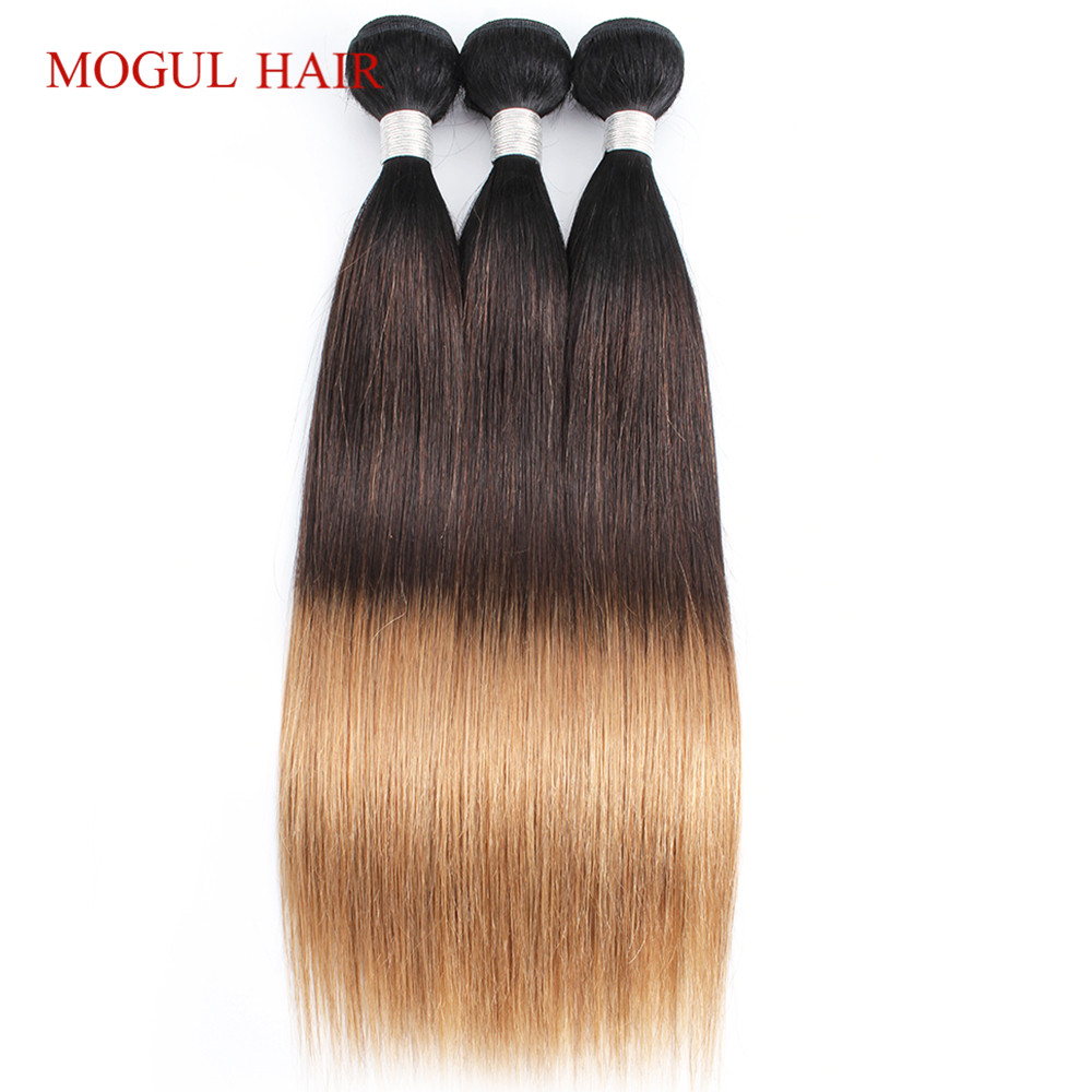 Mogul Hair Indian Straight Hair Weave Bundles Color 1B 4 27 Ombre Brown Honey Blonde Remy