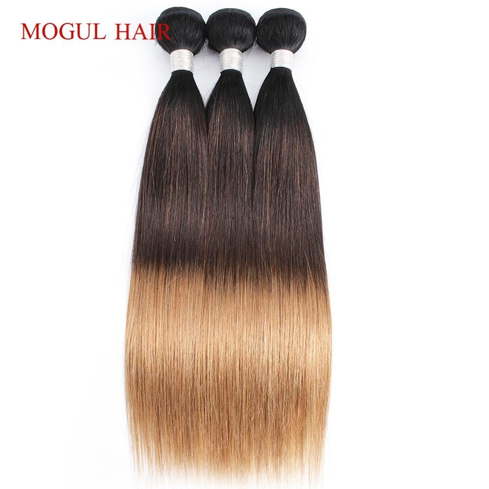 Cheveux Mogul indien cheveux raides armure faisceaux couleur 1B 4 27 Ombre brun miel Blonde Remy Extension de cheveux humains 12-24 pouces