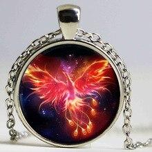 Ожерелье со стеклянной подвеской в виде звездного неба, Феникса, созвездий, двенадцать золотых оттенков, детское классическое Подарочное комиксное украшение