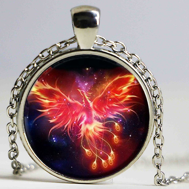 Starry Sky Beast Phoenix Constellation Twelve Gold Color Saint Seiya Glass Pendant Necklace Childrens Classic Comic Memory Gift
