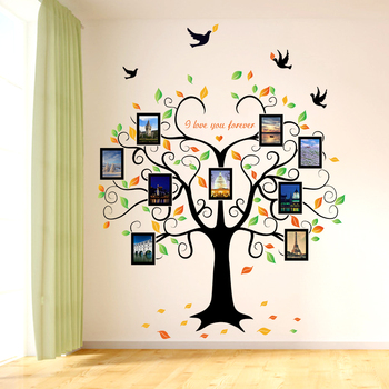 Large 160*204cm Family Tree Heart-shaped Photo Frame Wall Sticker Love You Forever Bird Decals Mural Art Home Decor Removable tree wall decal sticker bedroom tree of life roots birds flying away home decor yoga studiodecor heart shaped branches a7 018