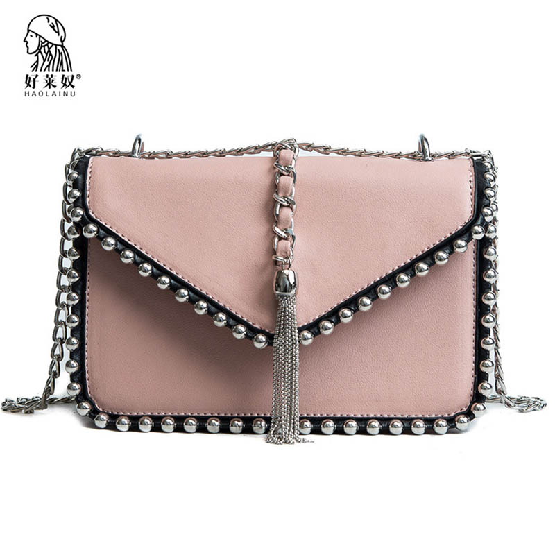 Fashion Women Messenger Bag New Brand Leather Female Shoulder Bag Chains Luxury Rivet Tassel Woman Handbags Strap Bags 2018 New