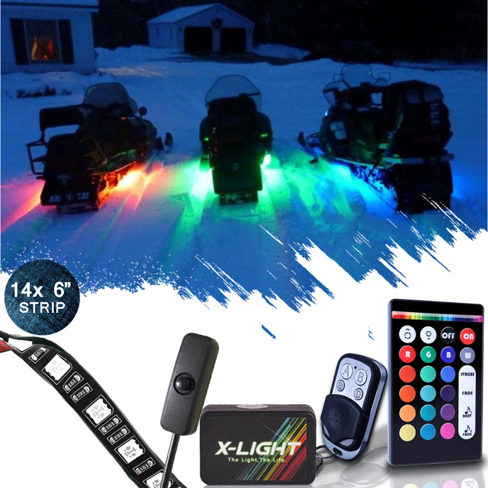 X-LIGHT14pcs Snowmobile LED Body Glow Neon Wireless Lights Kit with Swtich Power relay+ Music Active + Brake Mode + 18 Color