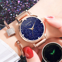 reloj mujer 2018 New Luxury Quartz Ladies Rose Gold Watch Fashion Blue Starry Sky Magnetic Mesh Women Watches Flash Bright Clock